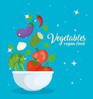gezonde en verse groenten in een kom, veganistisch voedselconcept vector
