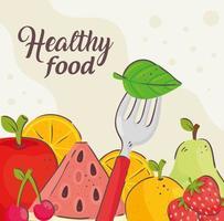 banner van gezonde voeding met vers fruit