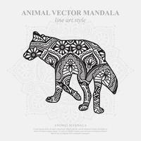 wolf mandala. vintage decoratieve elementen. oosters patroon, vectorillustratie. vector