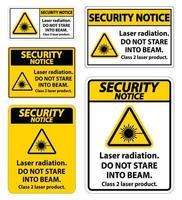 veiligheidsmededeling laserstraling, staar niet in de straal, klasse 2 laserproductbord op witte achtergrond vector