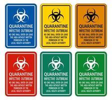 quarantaine infectieuze uitbraak teken isoleren op transparante achtergrond, vector illustratie
