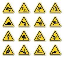 waarschuwing gevaarsymbolen etiketten ondertekenen isoleren op witte achtergrond, vector illustratie
