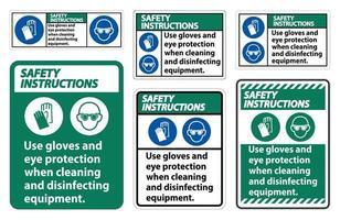 veiligheidsinstructies gebruik handschoenen en oogbeschermingsteken op witte achtergrond vector