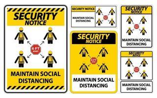 beveiligingsbericht handhaven sociale afstand, blijf 6ft uit elkaar teken, coronavirus covid-19 teken isoleren op witte achtergrond, vector illustratie eps.10