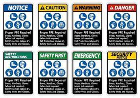 juiste pbm vereiste laarzen, veiligheidshelm, handschoenen wanneer de taak valbescherming vereist met pbm-symbolen vector