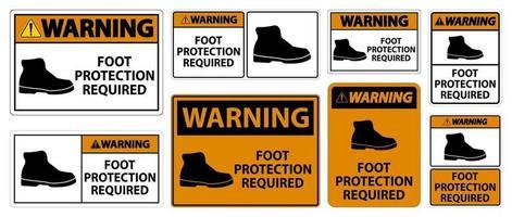 waarschuwing voetbescherming vereist muursymboolborden vector