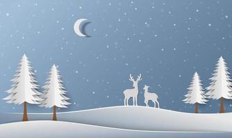 winterbos met hertenfamilie op papier kunst achtergrond