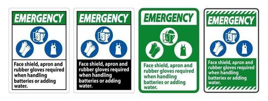 gelaatsscherm voor noodgevallen, schort en rubberen handschoenen vereist bij het hanteren van batterijen of het toevoegen van water met PBM-symbolen vector