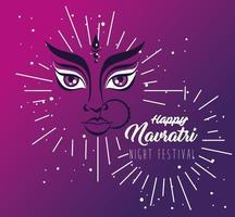 navratri hindoe feest poster met durga gezicht en bloemendecoratie vector