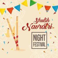 navratri hindoe-viering poster met decoraties vector
