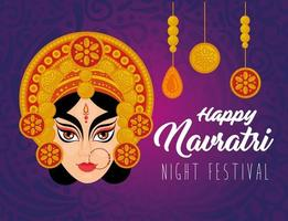 navratri hindoe-feestaffiche met durga-gezicht en decoraties vector