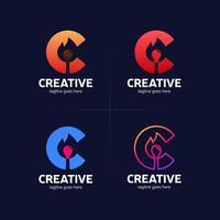 letter c creatief idee met vlammatch vector