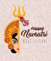navratri hindoe viering poster met durga gezicht vector
