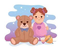 schattige pop met teddybeer en draaiend speelgoed vector