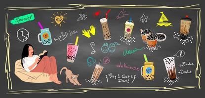 bubbelmelkthee, parelmelkthee, verschillende soorten boba. lekkere drankjes. vector