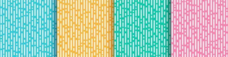 set van abstracte gele roze groene munt en lichtblauwe verticale afgeronde lijnen overgang. trendy kleuren geometrisch abstract ontwerp. eenvoudige vlakke pastelpatroonstijl. vector illustratie