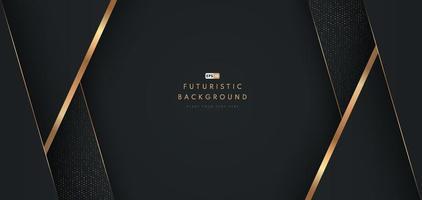 abstracte zwarte geometrische vorm achtergrond met diagonale gouden lijn en glitter textuur. ontwerp voor presentatie, banner, omslag, web, flyer, kaart, poster, spel, textuur, dia. vector illustratie