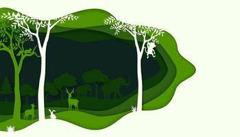 ecologie en milieubehoud concept met dieren in het wild op groene natuur bos achtergrond vector