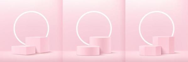 set van abstracte zachtroze kubus ronde en zeshoekige weergave voor product op website in modern. achtergrondweergave met podium en minimale textuurmuurscène, 3D-rendering geometrische vorm pastelkleur.