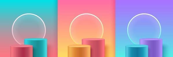 set van abstracte ronde weergave voor product op website in modern. pastel achtergrondweergave met podium en minimale textuurmuurscène, 3D-rendering geometrische vorm wit grijs roze goud groene kleur.