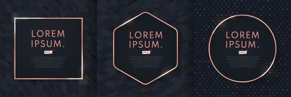 set van abstracte het ontwerpachtergrond van het luxe zwarte patroon met geometrisch roze gouden frame. modern en minimaal roze gouden sjabloonontwerp. vector illustratie