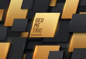 abstract modern gouden en zwart geometrisch vierkant vormpatroon dat op achtergrond overlapt. futuristische trendy verloopstijl. vector illustratie
