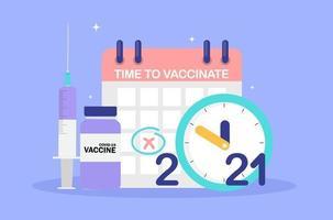 tijd om 2021 concept te vaccineren. coronavirus vaccinatie concept. vector illustratie