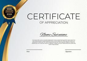 blauw en goud certificaat van prestatie sjabloon instellen achtergrond met gouden badge en rand.