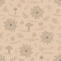 hand getrokken naadloze patroon met herfstbladeren vector