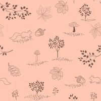 hand getrokken herfst naadloze patroon met esdoorn bladeren, eekhoorns