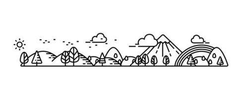 natuurpark en goed uitzicht op de omgeving illustreren. vector