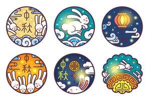 midden herfst festival lijntekeningen illustratie set. mooncake ronde vorm.