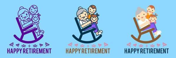 gelukkig pensioen banner vectorillustratie. vector