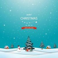 prettige kerstdagen en gelukkig nieuwjaar wenskaart met winterlandschap, sneeuwpop en geschenkdozen vector