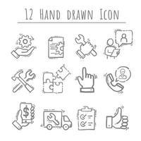 eenvoudige set van engineering, hand getrokken vector, 12 pictogrammen. bevat pictogrammen als productie, ingenieur, productie. vector