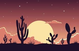 dag in uitgestrekte West-Amerikaanse woestijn met het landschapsillustratie van de cactushorizon