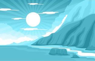 prachtige panorama strand landschap illustratie vector