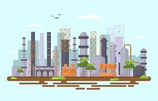 industriële fabrieksgebouwen vlakke afbeelding vector