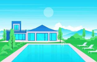 moderne huisvilla buitenkant met zwembad bij achtertuinillustratie
