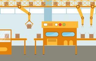industriële fabriekstransportband en robotassemblageillustratie