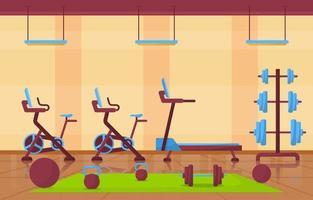 fitnessruimte interieur met bodybuilding apparatuur vectorillustratie vector