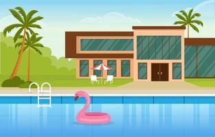 moderne huisvilla buitenkant met zwembad bij achtertuinillustratie vector