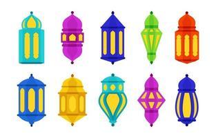 kleurrijke islamitische Arabische lantaarn icoon collectie