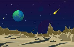 landschapsoppervlak van science fiction fantasie planeet illustratie vector