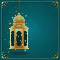 Arabische islamitische lantaarn voor ramadan kareem eid mubarak achtergrond vector