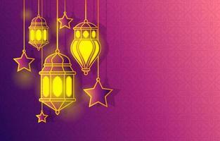 islamitische Arabische lantaarn voor ramadan kareem eid mubarak achtergrond vector