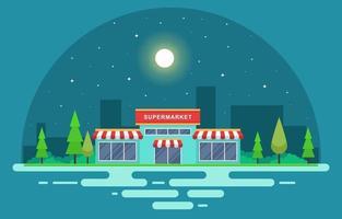 supermarkt-supermarkt in de vlakke afbeelding van de stad vector