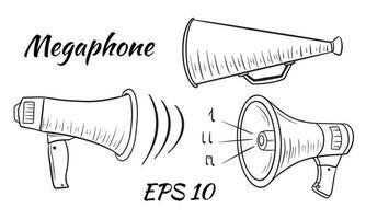illustratie van een megafoon, luide luidsprekerset vector