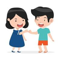 kleine jongen en meisje die een pinkbelofte doen vector