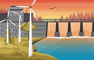 rivier stroomt door grote dam illustratie